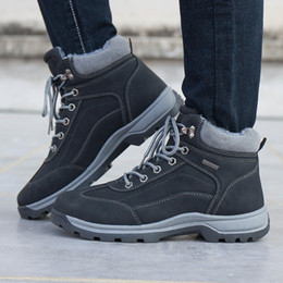 Working Shoes For Men Australia - High Quality Mens Warm Casual Ankle Boots Work Hiking Shoes Winter Snow Boots for Men Waterproof Outdoor Leather Plush Fur Fashion US 6.5-12
