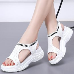 Thick Sole Sandals Australia - Platform Women's Sandals Fashion Summer Leather Women Thick Soled Beach Sandal Casual Chunky Woman Shoes C330