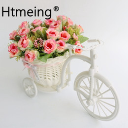 wedding bicycle Australia - Artificial Rose Flower With Bicycle Basket Pot Set Decor Plant Stand Home Garden Outside Party Wedding Car Decoration Y19061103