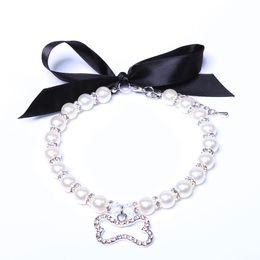$enCountryForm.capitalKeyWord Australia - Dog cat Pearls Necklace Collar With Rhinestones Ribbon Bone Charm Pendant Pet Puppy Jewelry 3 sizes 2 colours