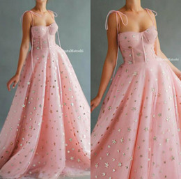 Discount prom star sexy 2020 Pink Prom Dresses Spaghetti Lace Bling Star Floor Length Cheap Evening Dress A Line Custom Made Special Occasion Go