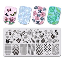 $enCountryForm.capitalKeyWord Australia - BEAUTYBIGBANG 6*12cm Rectangle Stamping Template Square Flower Butterfly Grid Nail Art Stamp Plate Flower Yarn XL-042