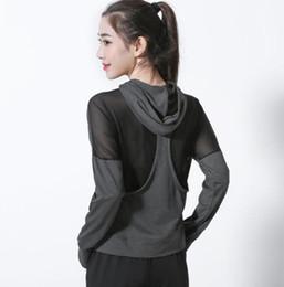 Wholesale Fashion Clothing Mesh UK - Open back mesh stitching sports fitness jacket female loose yoga clothes running slim slimming quick-drying clothes fashion sexy shirt