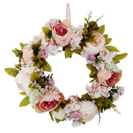 Flowers For wreaths online shopping - Beautiful Artificial Peony Wreath Home Decoration Vintage Champagne European Church Wedding Wall Decoration Wreaths for Front Door