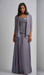 light grey formal mothers dress UK - 3 Pieces Chiffon Lace Mother Of The Bride Dress Square Neck Long Sleeve Jacket Grey Mother's Dress Plus Size Floor Length Formal Gowns
