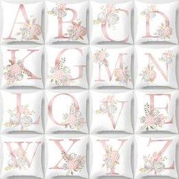 Valentine pillow case online shopping - 26 Letters Pillow Case flower Cushion pillow Cover Pillowslip Bedding decor valentines gift Sofa Home car Decor cm FFA1578