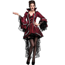 woman vampire halloween costumes Australia - Adult Women Halloween Vampire Queen Costume Lace Dress Gothic Fancy Court Countess Collared Vintage Outfit Plus Size For Ladies