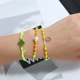 $enCountryForm.capitalKeyWord Australia - 3Pcs fashion fluorescent yellow hand-woven bracelet Personality lucky grass beaded jewelry women's bracelet Gift for family, friends.