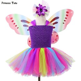 butterfly fairy dresses Australia - 1 Set Girls Rainbow Fairy Tutu Dress With Wings Princess Kids Girl Party Dress Halloween Butterfly Cosplay Girls Fancy Costumes Y19061501