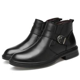 Black Platform Snow Boots Australia - big size mens fashion genuine leather warm fur shoes black platform cotton shoe winter short plush ankle snow boots zapatos male