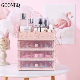 Eco Friendly Makeup Organizer Australia - GOONBQ 1 pc 4 Layers Plastic Cosmetic Drawer Makeup Organizer Container Desktop Sundry Makeup Storage Box Dropshipping