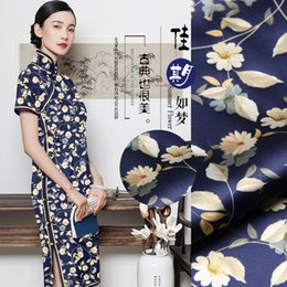 $enCountryForm.capitalKeyWord Australia - Branches & Floral Print Elastic Mulberry Silk Fabric Cheongsam Material Vintage