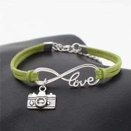 Invisible Cameras Australia - New 2019 Latest Wholesale Popular Green Leather Rope Bracelet Bangles For Men Women Charm Vintage Infinity Love Camera Jewelry Free Shipping