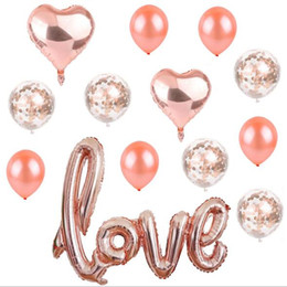 love letter decorations 2019 - Love Letter Balloon Set Heart Shape Foil Balloon Confetti Latex Balloons for Valentine's Day Wedding Decoration che