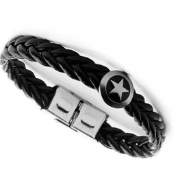 Discount titanium weave - Multi-layer titanium steel imitation leather bracelet European and American five-pointed star woven bracelet men