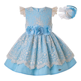 Frocks laces For kids online shopping - Pettigirl Summer for Girls Knee Dress Blue Lace Children Wedding Princess Party Kids Elegant Porno Frocks Clothes G DMGD203