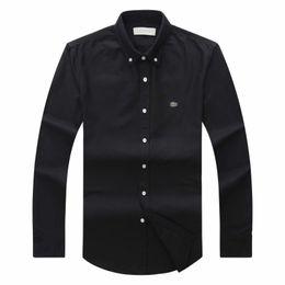 Ingrosso 19 Autunno Inverno Mens Designer Oxford Dress Shirt Manica lunga da uomo Casual Crocodile Camicie sociali Moda Usa Marca Cl Polo Shirts