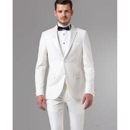$enCountryForm.capitalKeyWord Australia - Popular White Groom Notched lapel men suit Tuxedos Groomsmen Men's Wedding business dinner mens Suits ( jacket+Pants+vest+tie)