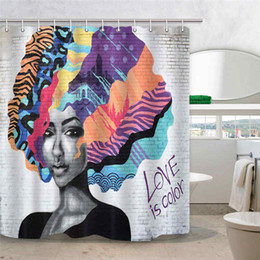 Hippie Art Australia - frican American Shower Curtain, Afro Girl with Colourful Hair Hairstyle Portrait on White Brick Wall Hippie Art