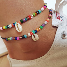 simple chain anklets NZ - ASVX Simple Beach Anklet Colorful Mixed Color Bead Shell Foot Chain Ladies Simple Single Layer Jewelry