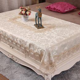 $enCountryForm.capitalKeyWord Australia - Novel Lace Satin Tablecloth Rectangle Easter Coffee Table Cover Home Christmas Wedding Reception Television Cabinet Decor