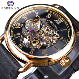 Luxury Skeleton Watches Australia - Forsining Classic Black Golden Openwork Watches Skeleton Mens Mechanical Movement Wristwatches Luxury Fashion Casual Brand Leather Watch