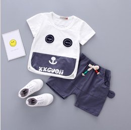 transparent short wear UK - 2020 children's short sleeve suit summer round neck letter cartoon eye T-shirt brand new trend of children's wear