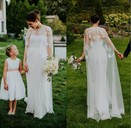 Discount chic sheath wedding dresses - Chic Split Front Rustic Country Wedding Dresses With Detachable Wrap Two Pieces Cheap Lace Chifon Bridal Gowns Long Beac