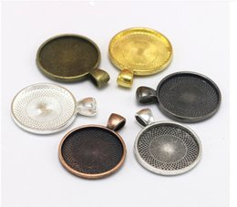 silver pendant settings Australia - 40pcs 28MM Fit 25MM DIY Round tibetan silver metal stamping blank gold pendant bezel tray jewelry setting vintage metal retro base fittings