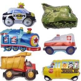 Wholesale DIY Cartoon Car Balloons Fire Truck Car Train Foil Balloon Ambulance Globo Children Gifts Birthday Party Decorations Kids Balls