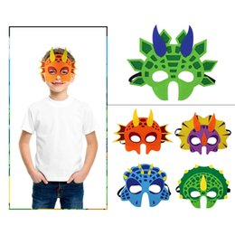 Wholesale Kids Dinosaur Cartoon Party Mask Cute Animal Decorative Party Accessories Favors Half Face Mask Themed Party Masquerade Halloween AAA19340