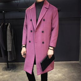 mens short double breasted coat Australia - Purple Abrigo Hombre Double-breasted Long Trench Coats Mens Overcoats Loose Mont Erkek Vintage Black Fashion Mens Long Jackets