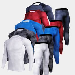 PurPle comPression shorts online shopping - Men s D Compression Run jogging Suits Clothes Sports Set Long T shirt And Pants Gym Fitness workout Tights Men s Sportswear SH190914