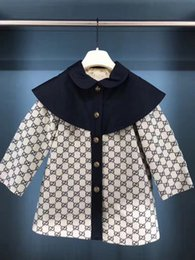 Tench cloThes online shopping - British fashion Tench Coat Boy Girl Clothes Windproof Jacket Double Breasted Windbreaker Turn down Collar Kids School Clothes