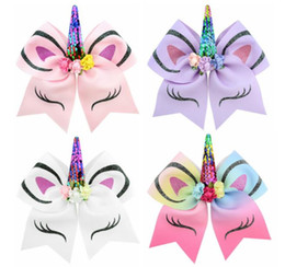 Dog Grooming Hair Clip Australia - 2019 Big Hair Bows Dog Grooming hairpin Pet child party clasp Rainbow Hairpin horn gilding flip sequin bow Clip
