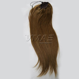 human hair straight drawstring ponytail Australia - VMAE Straight human Ponytail hair Natural Hair horsetail 130g 150g tight hole Clip In Drawstring Ponytails Hair Extensions