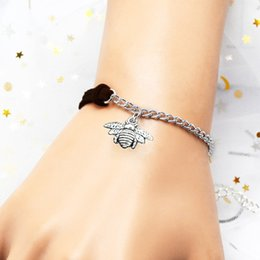 Browning Pendant China Australia - High Quality Silver Alloy Bee Pendant Bracelets & Bangles Dark Brown Personality Leather Suede Chain Woven Rope Jewelry For Women Men Gift