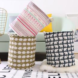 $enCountryForm.capitalKeyWord Australia - Large Round Clothes Storage Basket Printing Pastoral Animal Sundries Organizer Baskets Home Folding Kids Toy Storage Bucket BH1226 TQQ
