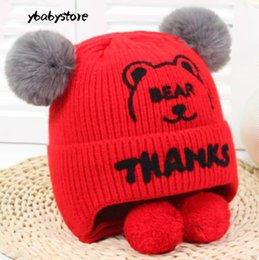 5204b5ef87f New pattern winter Embroidery letter Cartoon Bear Ear protectors Children s  woolen cap Red Yellow Blue Black Pink warm baby Knitted hat 3pcs