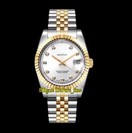 36mm Datejust 116233 116233-G-63203 Часы унисекс с белым циферблатом Miyota 8215 Автоматические мужские часы Двухцветные стальные браслеты Сапфировые женские часы на Распродаже