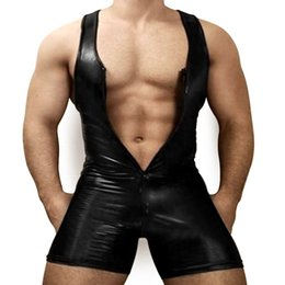 Wholesale full body latex costume for sale – halloween Faux Leather Tight Body Underwear Men Shapers Sexy Singlet Bodysuit Wrestling Leotard Male Casual Unitard Bust Open Underwear