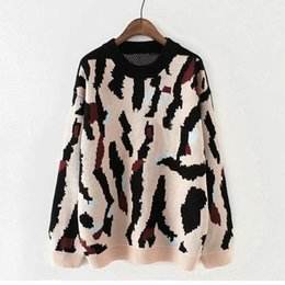 Wholesale shirt crochet for sale – plus size womens sweaters Fashion O Neck irregular Print Color Long Sleeve Pullover Sweaters Shirts oversized sweater jersey mujer