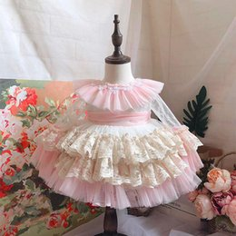 beaded embroidered lace Australia - Palace style girls dresses kids lace hole floral embroidered cake dress child beaded lace falbala lapel flare sleeve princess dress F10206