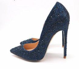 $enCountryForm.capitalKeyWord Canada - Free Shipping woman women lady2019 new dark blue navy crystal pointed toe high heels shoes pumps Rhinestone Stiletto Heel