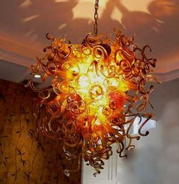 art cottages Australia - New Design Amber Brown Color Blown Glass Chain Chandelier LED Bulbs Art Decor Murano Borosilicate Glass High Quality Chandelier for Home