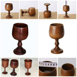 Glass china Glasses online shopping - Retro Wood environmental protection classical round wine cup high quality single layer solid wood cup high foot red wine cup T3I5295