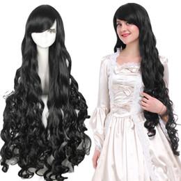 $enCountryForm.capitalKeyWord NZ - Anime Women Lolita Long Black Curly Wavy Wave Cosplay Wigs Full Hair Party Wig