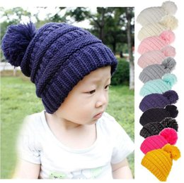 Balls Knit Hats Australia - 11 Colors Pom Winter Hat Kids Ball Pom Pom Hats Newborn Knitted Cap Crochet Solid Children Beanies Party Hats 20pcs
