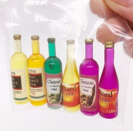 wholesale doll houses NZ - 6pcs Fruit Wine Bottles Drinking 1:12 Scale Toys Miniature Micro Aquarium Terrariums Fairy Gardens Doll House Resin Decoration Collection