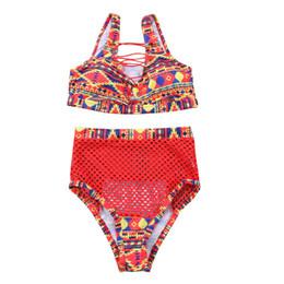 Chinese  2pcs Women bikini set High waist padded bathing suits sexy print lace up bandage padded swimsuit swimwear Hollow out drop ship manufacturers